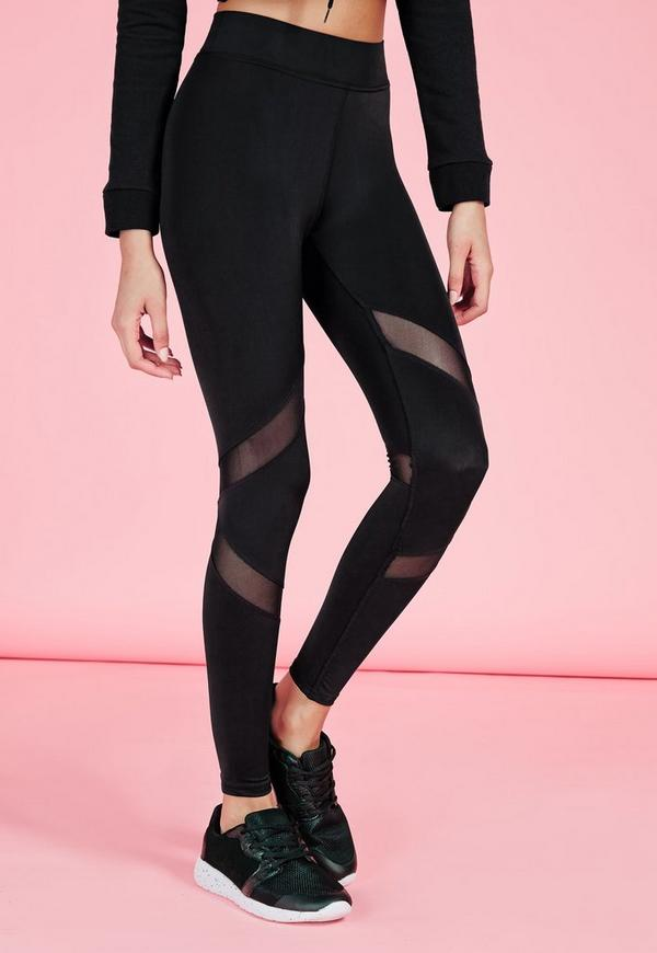 Active Mesh Panel Gym Leggings Black Missguided