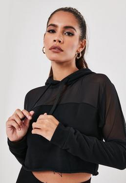 Active - Sudadera con capucha y rejilla en negra