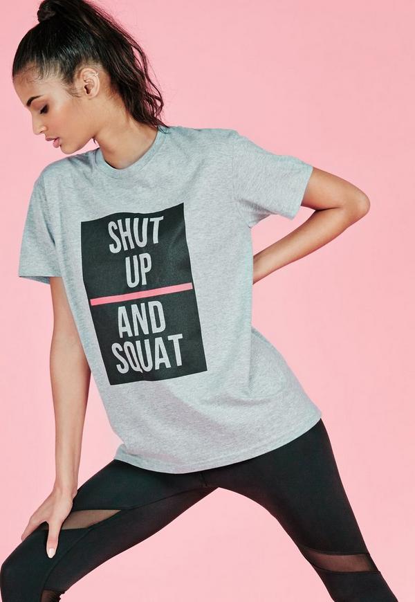 active shut up and squat slogan t-shirt grey