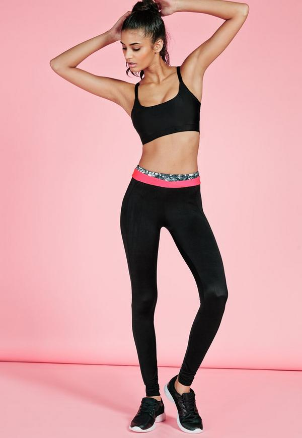 Active Double Waistband Leggings Pink