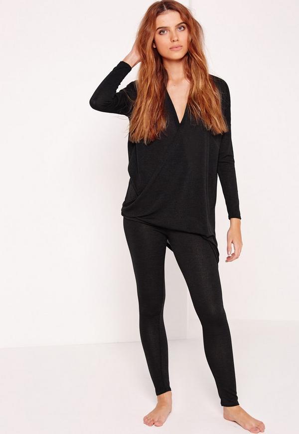 Wrap Front Loungewear Tracksuit Black