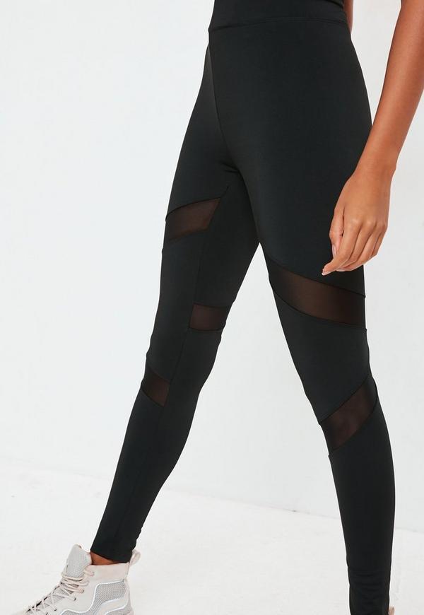Active Mesh Panel Gym Leggings Black Missguided