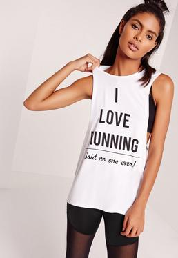 Active Open Back Slogan Vest White