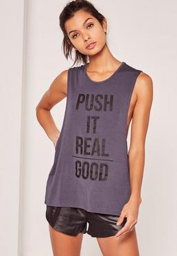 Débardeur de sport violet slogan Push it