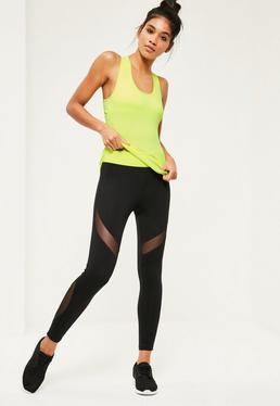 Active Black Slogan Sports Leggings