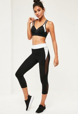 Kurze Sport-Leggings im Kontrastdesign in Weiß