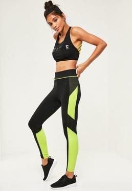 Active Black Mesh Colour Block Gym Tights