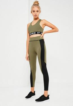 Active Khaki Mesh Colour Block Sports Leggings