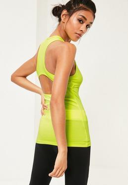 Zielony sportowy top Active z wyciętymi plecami