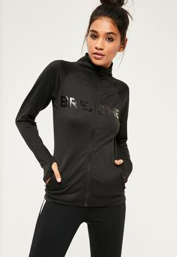 Active Black Zip Up Slogan Sports Jacket
