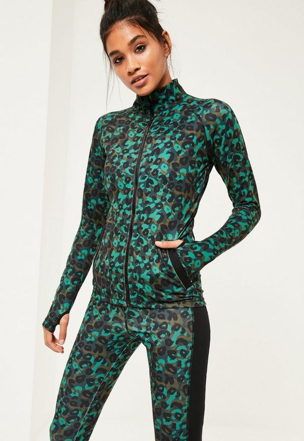 Active Green Long Sleeves Zip Up Sports Jacket