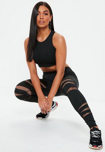 active black cut out fishnet sports leggings missguided. Black Bedroom Furniture Sets. Home Design Ideas