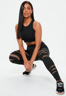 Active Black Cut Out Fishnet Sports Leggings