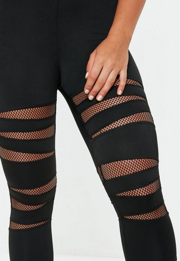Active Black Cut Out Fishnet Sports Leggings | Missguided