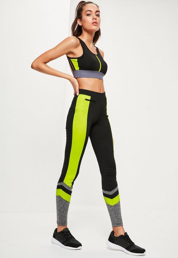 Active Black Neon Panel Sports Leggings