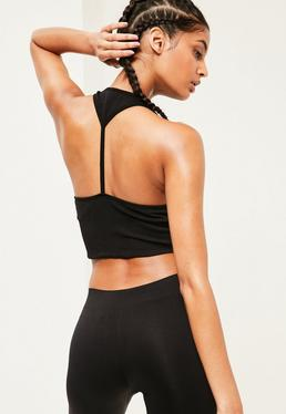 Active Black Seamfree Cropped Sports Top