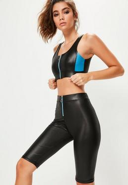 Active Black Wet Look Cycling Shorts