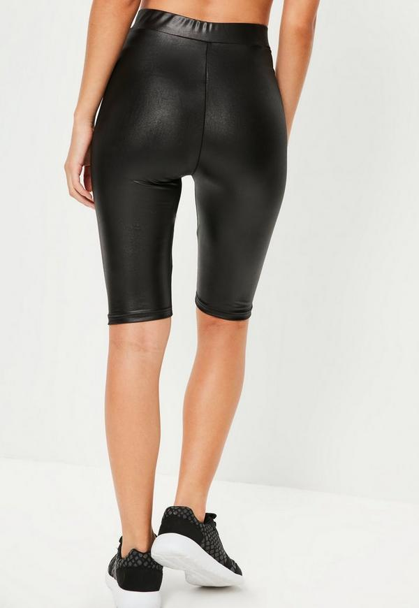 Active Black Wet Look Cycling Shorts Missguided