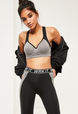 Active Grey Underwired Push Up Sports Bra