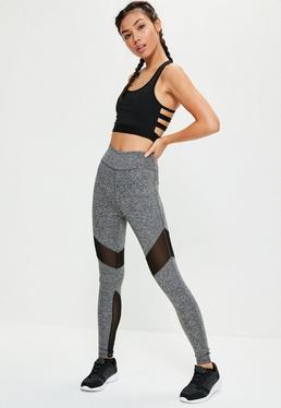 Legging de sport gris chiné empiècements tulle Active