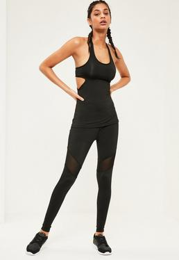 Active Black Mesh Panel Full Length Sports Leggings