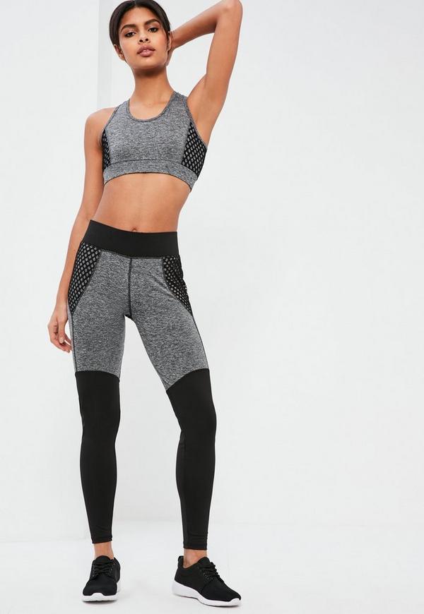 Active Grey Fishnet Detail Sports Leggings