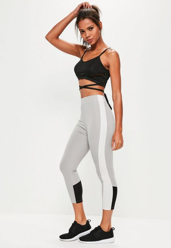 Active Grey Contrast Sports Leggings