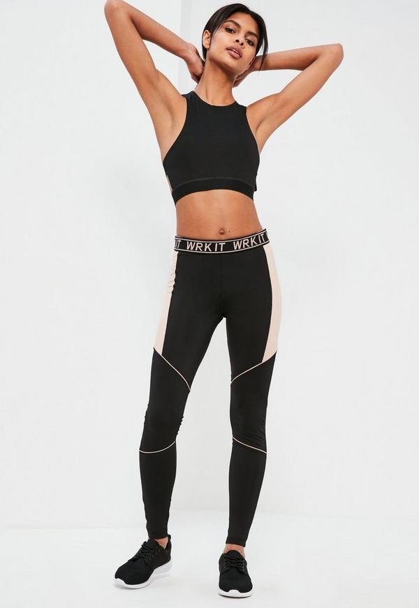 active black nude piping sports leggings missguided. Black Bedroom Furniture Sets. Home Design Ideas