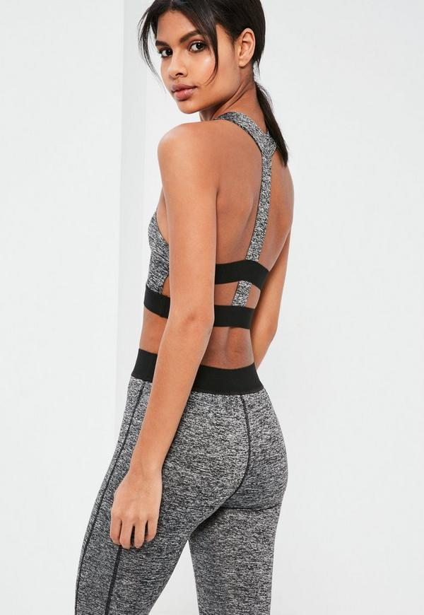 Active Grey Racer Cropped Sports Top