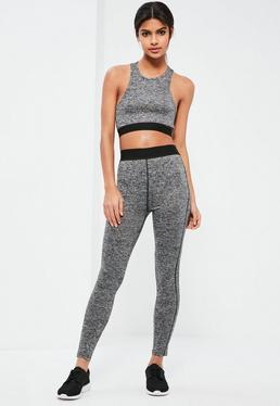 Active Grey Elasticated Sports Leggings