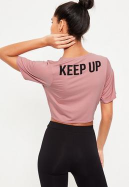 Różowy krótki t-shirt Active ze sloganem