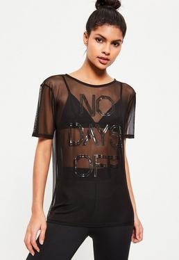 Camiseta Active con Transparencias y Detalle No Days Off en Negro