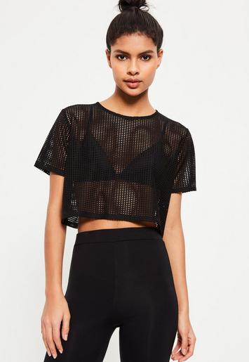 active black fishnet cropped sports top missguided. Black Bedroom Furniture Sets. Home Design Ideas