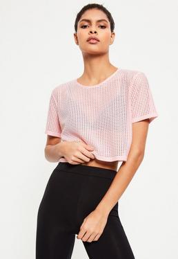 T-shirt cropped rose en résille Active