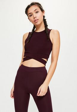 Active Plum Cut Out Yoga Top