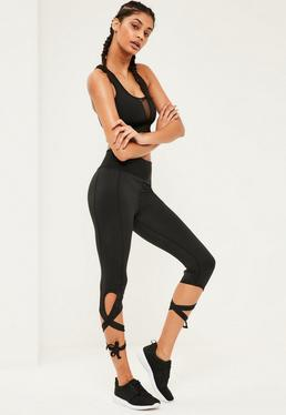Active Black Tie Side Leggings