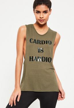 Débardeur de sport vert kaki Cardio Is Hardio Active