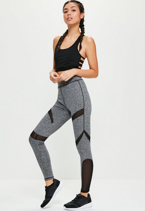 active grey mesh panel full length sports leggings missguided. Black Bedroom Furniture Sets. Home Design Ideas