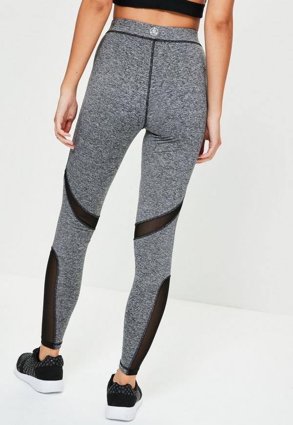active lange sport leggings mit schwarzen mesh netz eins tzen in grau missguided. Black Bedroom Furniture Sets. Home Design Ideas