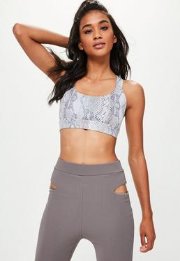 Active Grey Snake Print Sports Bra