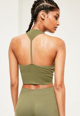 Active Khaki Seamless Cropped Sports Top
