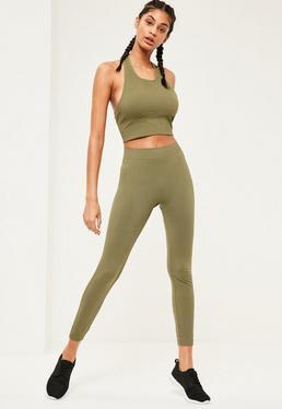 Active Khaki Full Length Seamless Leggings