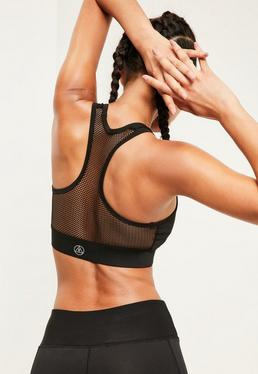 Active Black Fishnet Sports Bra