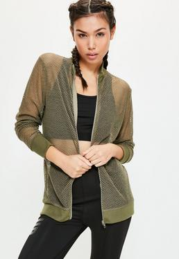 Active Khaki Fishnet Bomber Jacket