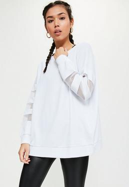 Active White Mesh Sleeve Sweatshirt