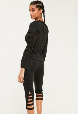 Active Black Bandage Cropped Sports Leggings