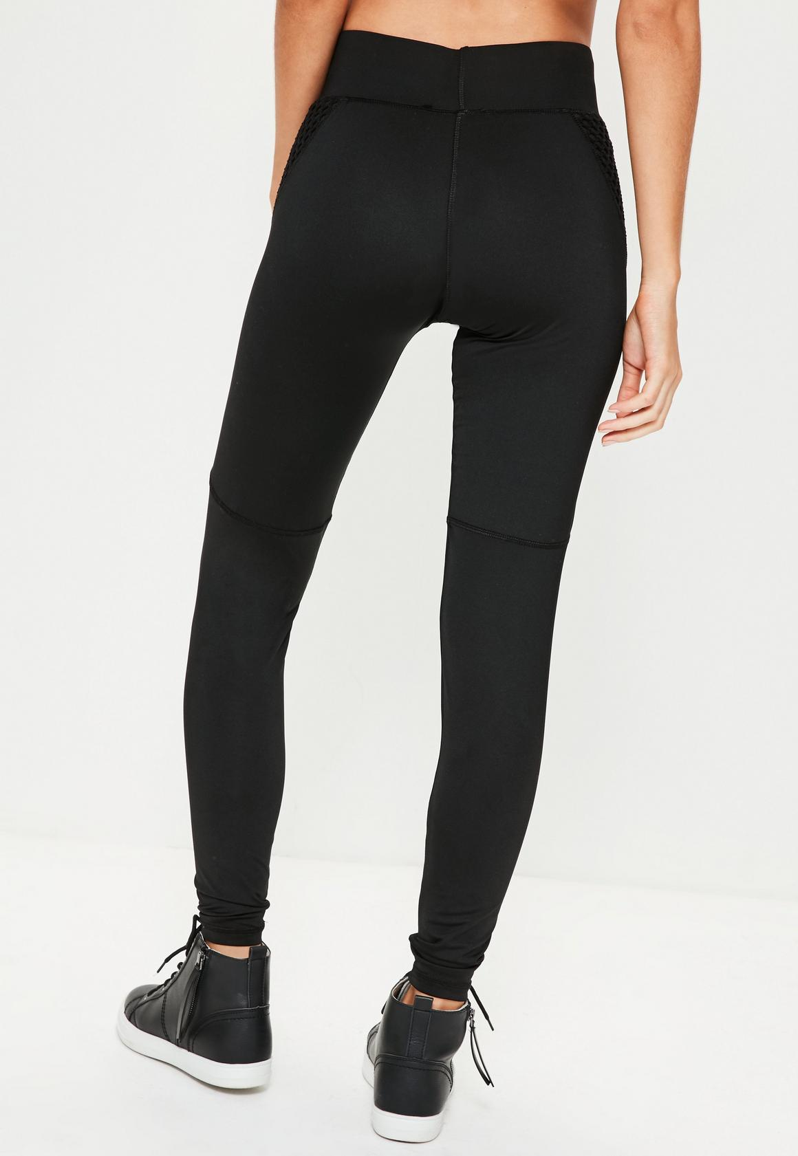 01e37a73ba3fd0 Missguided Active Black Fishnet Side Sports Leggings, Black at £10 ...