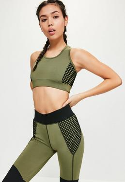 Active Khaki Fishnet Cropped Sports Top