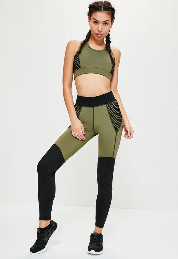 active khaki fishnet sports leggings missguided. Black Bedroom Furniture Sets. Home Design Ideas