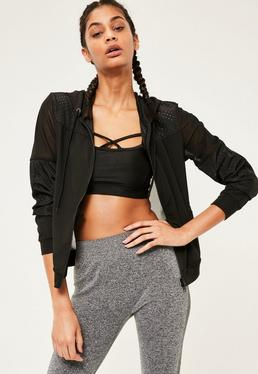 Active Black Woven Mesh Mesh Sports Jacket